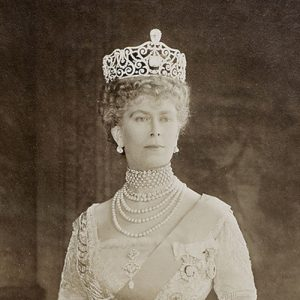 Queen Mary Wearing the Delhi Durbar Tiara with the Cullinan III and IV and the Emeralds Removed, c.1911.