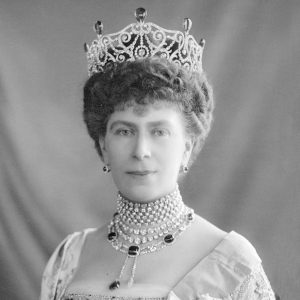 Queen Mary Wearing the Delhi Durbar Tiara with the Original Emeralds in Place, c.1911.