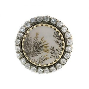 Antique Dendritic Agate and Diamond Brooch.