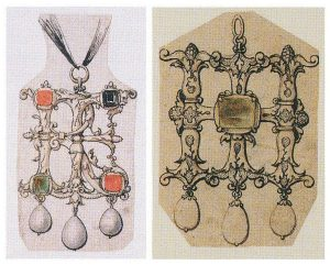 Two Holbein Pendant Designs for Jeweled Initials. British Museum.