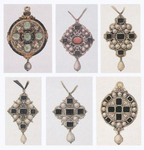 Six designs for Pendant Jewels; Ink and Washes on Paper
