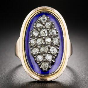 Diamond and Cobalt Blue Enamel Ring.