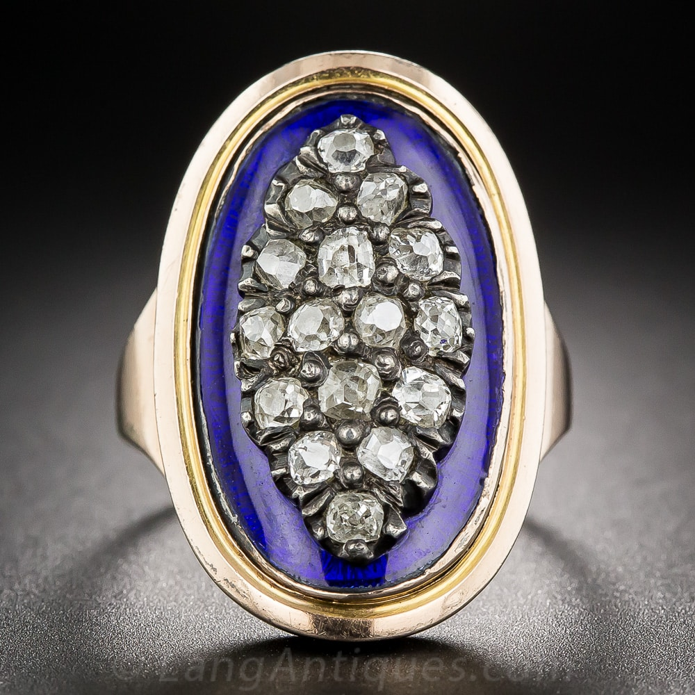 Diamond Blue Enamel Georgian Ring.jpg