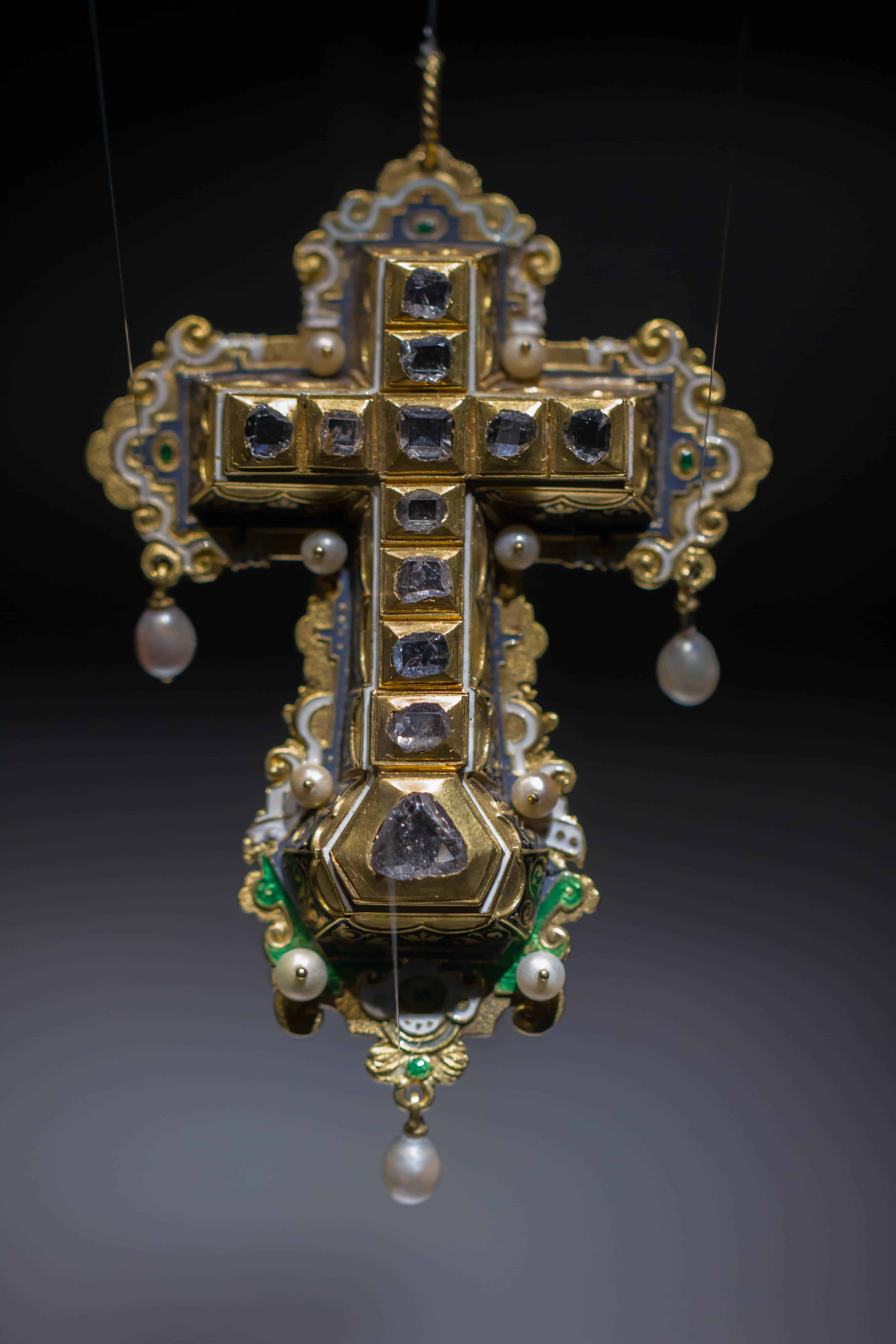 Diamond Cross Pearls Enamel Gold Renaissance Pendant.jpg