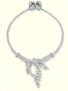Diamond Detachable Foliate Cascade Necklace, c.1955.