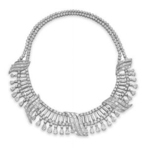 Diamond Fringe and Ribbon Motif Necklace, c.1950s.