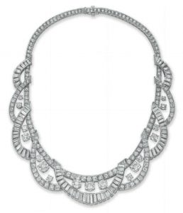 Diamond Baguette Swag Motif Necklace, c.1955.