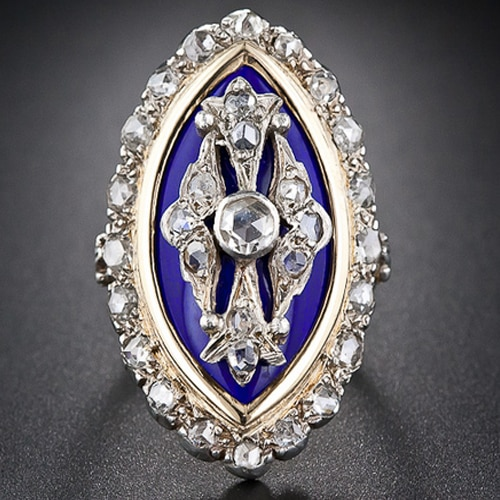 French Diamond and Enamel Navette Shaped Ring, c.18th Century.