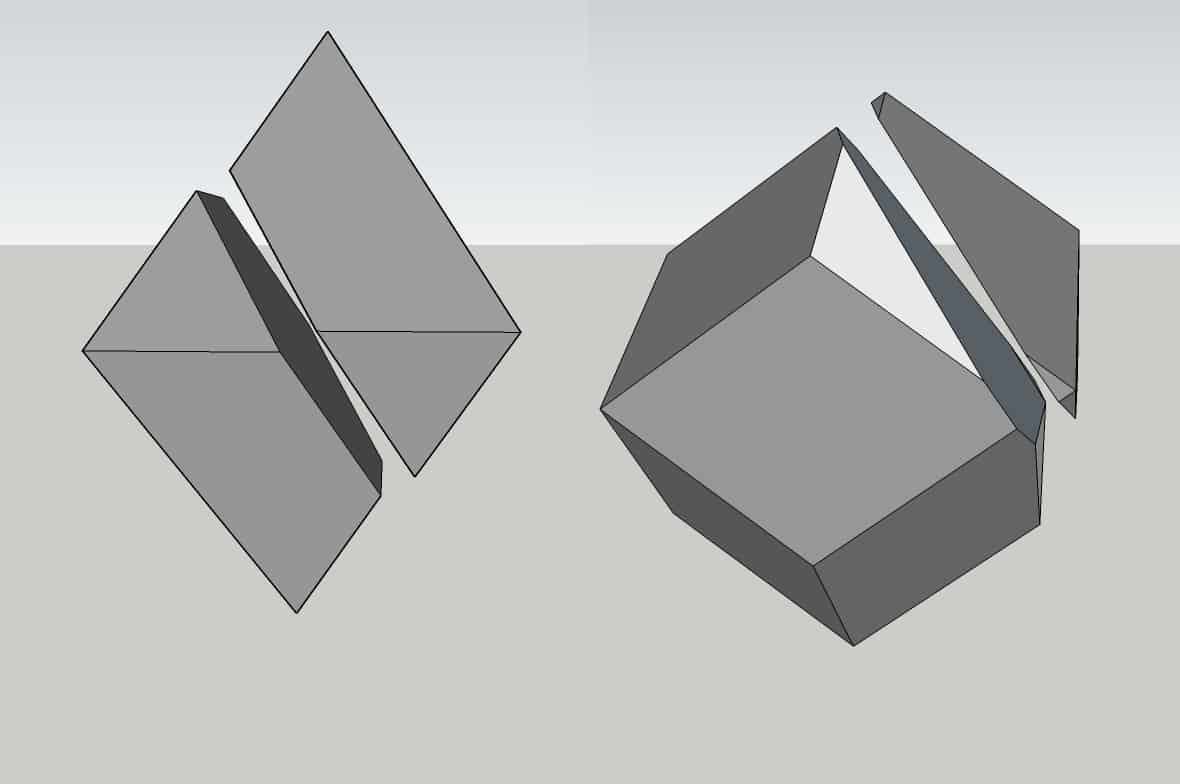 The Cleaving Directions in an Octahedral (left) and Dodecahedral (right) Diamond Crystal.