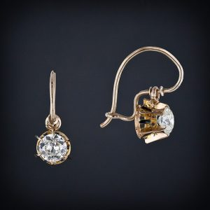 Diamond Drop Earrings with Wire Safety Hook.