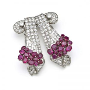 Diamond and Ruby Double Clip Brooch, Signed Drayson, London.