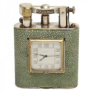 Dunhill Shagreen Table Lighter/Clock Combination.