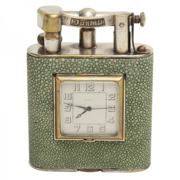Dunhill Shagreen Table Lighter/Clock Combination.