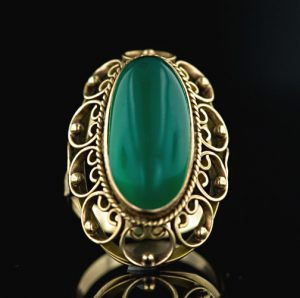 Dyed Green Chalcedony, 18 Karat Vintage Hand Fabricated Ring.