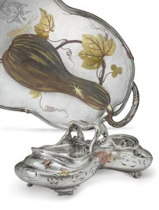 Edward C. Moore for Tiffany & Co. Mixed Metals Tray c.1878 and Centerpiece c.1880. Photo Courtesy of Christie's