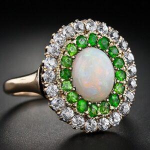 Edwardian Opal and European Cut Diamond Ring.