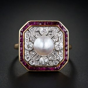 Edwardian Rose Cut Diamond Natural Pearl Calibre Ruby Ring Circa 1900.
