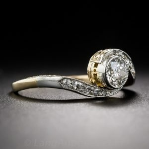 Edwardian Diamond and Platinum Topped Gold Engagement Ring with Hand Engraved Shank.