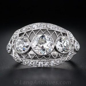 Edwardian Three Stone Diamond Engagement Ring.