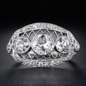 Edwardian Three Stone Diamond Engagement Ring.