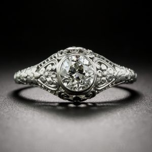 Edwardian Diamond Floral Engagement Ring.