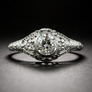 Edwardian Diamond Floral Engagement Ring.