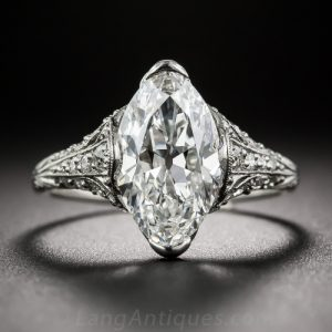 Tiffany & Co. Marquise-Cut Edwardian Diamond Engagement Ring.