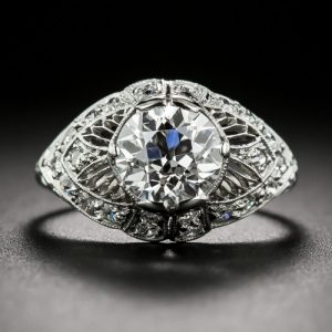 Edwardian Hand Engraved and Millegrained Diamond Engagement Ring.