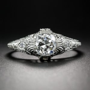 Edwardian Hand Engraved Diamond Engagement Ring.