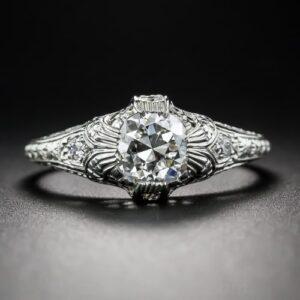 Edwardian Hand Engraved Diamond Engagement Ring.