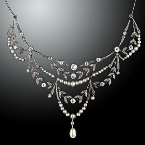 Edwardian Diamond and Pearl Garland Necklace. c.1900