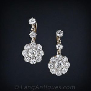 Edwardian Diamond Floral Motif Earrings.