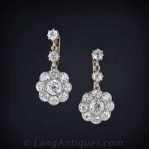 Edwardian Diamond Floral Motif Earrings.