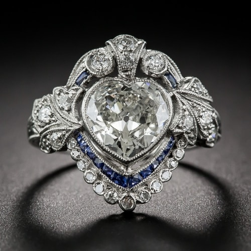 Edwardian Heart Shaped Engagement Ring Jpg