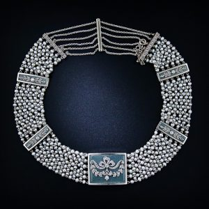 Edwardian Pearl, Enamel and Diamond Bow and Foliate Motif Choker.