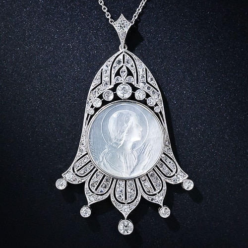 Edwardian Platinum Mother of Pearl and Diamond Pendant.jpg