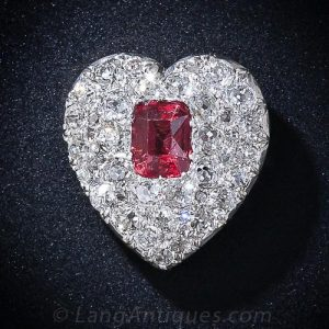 A Romantic and Ravishing Spinel and Diamond Symbol of Love from the Edwardian Period, c.1900.