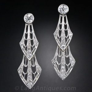 Edwardian Diamond-Set Platinum Earrings.