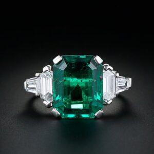 5.11 Carat Vintage Emerald Ring.