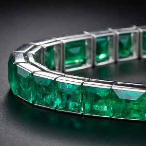 French Straight Line Emerald Bracelet.