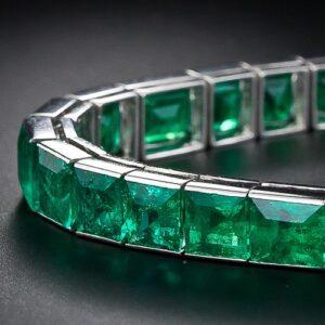 French Straight Line Emerald Bracelet.