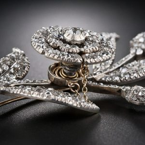 Detail of Georgian Diamond Flower Brooch Mounted En Tremblant.