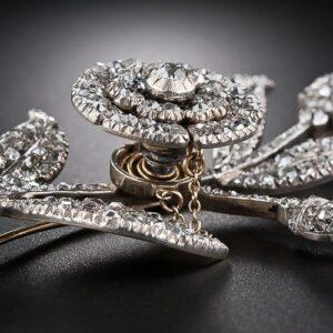 Detail of Georgian Diamond Flower Brooch Mounted En Tremblant.