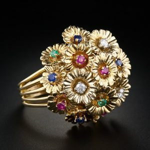 Floral Multi-Stone Boule Ring with En Tremblant Flowerheads. c.1950.