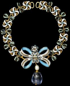 Bow Necklace, Enamel, Table-Cut Diamonds, Pearls and Sapphires. c.1660, Italy.