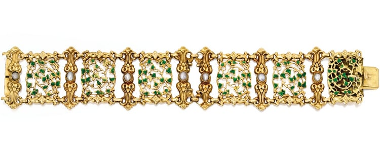 Enameled Ivy and Pearl Bracelet.jpg