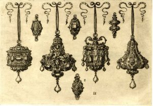 Etching with Four Small Earrings and Other Jewelry. 1562, Germany.