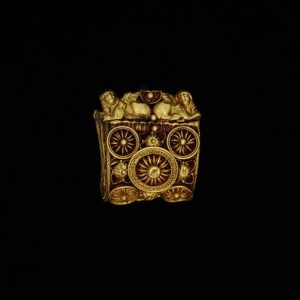 Baule Earring Decorated with Granulation and Filigree and a Plethora of International Motifs. 550-450 B.C., Umbria.