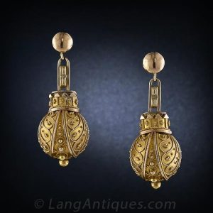 Victorian Etruscan Revival Ball Form Earrings with Granulation and Wirework Decoration.
