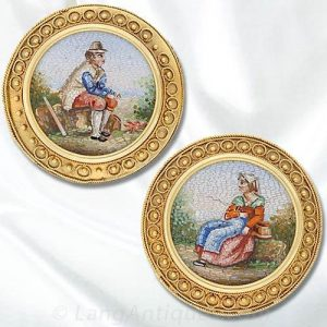 A Pair of Etruscan Revival Victorian Pins.